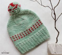 theOPENstudio 79. Winter Mint in malabrigo Chunky in Apple Green and Vermillion colorways.