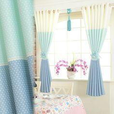 cortinas cortas color celeste