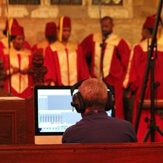 DMU Gospel Choir - recorded on location at Brooksby Church - checking levels.