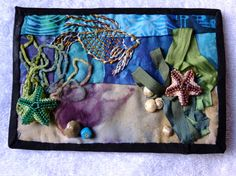 """Under the Sea"" fabric postcard."