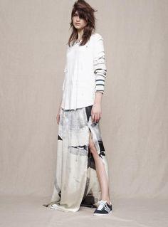 Silk Hand-Printed Maxi Skirt