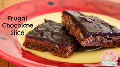 Frugal Chocolate Slice - Stay at home Mum This Frugal Chocolate Slice has lovely basic ingredients and is just delicious. Perfect for a sometimes after school snack or morning tea with the girls! Other Recipes, Sweet Recipes, Whole Food Recipes, Cake Recipes, Dessert Recipes, Yummy Recipes, No Bake Desserts, Just Desserts, Delicious Desserts