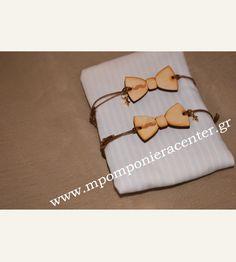 Μαρτυρικό παπιγιόν βραχιόλι ξύλινο με χάραξη μουστάκι με χρυσό σταυρό