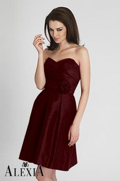 Style 4116 - Wine poly shantung cocktail length dress featuring a pleated bodice and ruched, empire waistband with flower detail. Taffeta Bridesmaid Dress, Brown Bridesmaid Dresses, Designer Bridesmaid Dresses, Beautiful Bridesmaid Dresses, Bridesmaid Dresses Online, Strapless Dress Formal, Designer Dresses, Bridesmaids, Cheap Wedding Dress