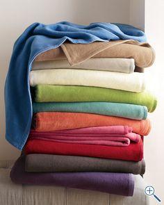 Cotton Fleece Blanket and Throw - Garnet Hill