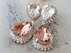 Blush chandelier earringsBlush pink bridal earringsBlush