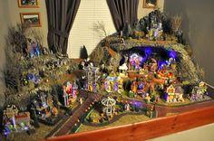 Halloween 2009 - Halloween village - placed over bathtub - bathroom was unuseable all night due to crowds