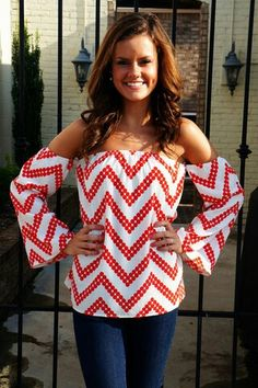 white/red chevron off the shoulders top w/ jeans.