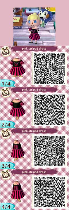 Animal crossing new leaf QR code. Pink and black striped dress