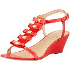 kate spade new york darcey bow-studded wedge sandal, orange ($248) ❤ liked on Polyvore
