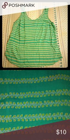 Tank top Adorable patterned teal and light green tank top.  *EUC, no flaws *Flowy style *No stretch  *100% rayon GAP Tops Tank Tops