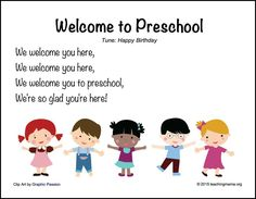 Welcome to Preschool . - back to school songs - Goodbye Songs For Preschool, Welcome To Preschool, Preschool Poems, Kindergarten Songs, Preschool Music, Preschool Education, Preschool Curriculum, Preschool Learning, Preschool Activities