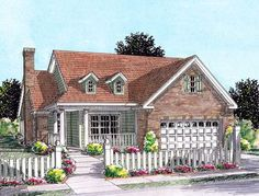 PERFECT cottage for Dad. Two Bedroom 2 bath Cottage with screened porch - thumb - 01 Cottage House Plans, Country House Plans, Cottage Homes, Cottage Bedrooms, Cottage Ideas, Cottage Style, Farm House, House Plans One Story, Small House Plans