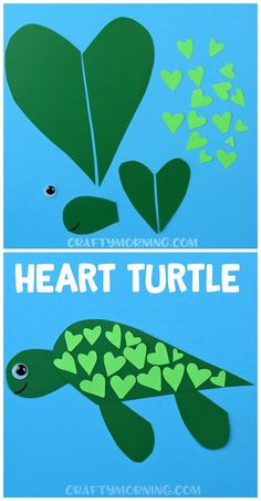 Have the kids make a heart shaped turtle craft for valentines day! The boys espe… Have the kids make a heart shaped turtle craft for valentines day! The boys especially love this art project. Valentine's Day Crafts For Kids, Animal Crafts For Kids, Valentine Crafts For Kids, Toddler Crafts, Projects For Kids, Water Crafts Kids, Ocean Animal Crafts, Valentine Ideas, Summer Crafts