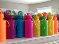 Water bottles with glow sticks for party favors. These were a huge hit for a bicycle birthday party!
