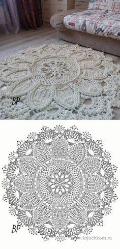 New Crochet Mandala Carpet Doily Rug 38 Ideas Filet Crochet, Crochet Doily Rug, Crochet Rug Patterns, Crochet Carpet, Crochet Mandala Pattern, Crochet Tablecloth, Crochet Circles, Crochet Diagram, Crochet Home