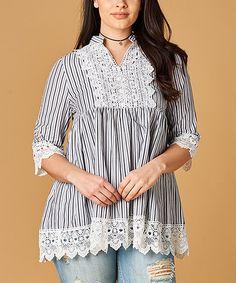 Black Stripe Lace Notch-Neck Tunic