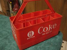 Vintage Red Plastic Coca Cola Handle Holder 8 Bottle Carrier Coke Crate