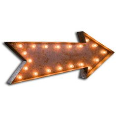 Urban Industrialists Large Vintage Letter Lights - Arrow Sign found on Polyvore featuring home, lighting, wall lights, standing lights, orange lighting, arrow lighting, orange lamp and standing lamps