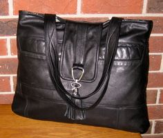 Recycled Leather Handbag / Messenger - Basic Black - Upcycled Leather Bag
