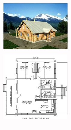 Log Style House Plan 87060 with 2 Bed, 1 Bath Cottage Style House Plans, Cabin House Plans, Beach House Plans, Cabin Floor Plans, Southern House Plans, Country House Plans, Southern Homes, Country Homes, Small Log Homes