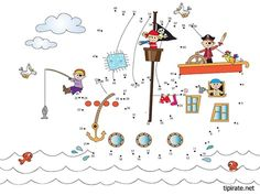 Pirate Connect the Dots Preschool Pirate Theme, Pirate Activities, Activities For Kids, Crafts For Kids, Free Board Games, Bateau Pirate, Pirate Crafts, I Love School, Pirate Treasure