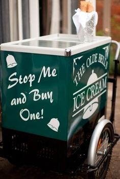 32 Totally Ingenious Ideas For An Outdoor Wedding: 16. Hire an ice cream cart. This has @Chantelle written all over it! (But it will have to serve Blue Bell!)