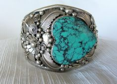 Silver Turquoise Cuff Bracelet | Details about NATIVE AMERICAN TURQUOISE & SILVER CUFF BRACELET