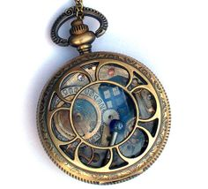 """Doctor Who Pocket Watch Necklace """"Transmat Wavelength"""" by TimeMachineJewelry"""