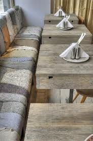 "Great textures here! A great way to use reclaimed wood and fabric to keep your business ""green""!"