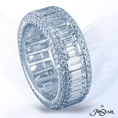 Style 1895 Platinum diamond eternity band hand crafted with perfectly matched straight baguette diamonds, edged with micro pave. #diamondeternityband #eternityband