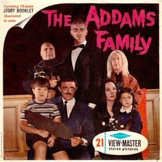 THE ADDAMS FAMILY 1965 View-master set Starring CAROLYN JONES as MORTICIA ADDAMS & JOHN ASTIN as GOMEZ ADDAMS. The great thing about this VERY RARE set is you get to see the original set interior in COLOUR (minkshmink)