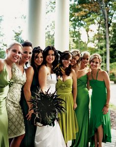 Bridesmaids - all the girls are different. I don't love the dresses but I like the color coordination