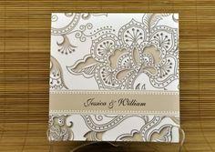 Floral inspired taupe wedding invitation @Courtney Baker Baker Baker Baker Renae