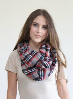 Fall Plaid scarf, Neutral Chunky warm plaid neutral infinity scarf. Warm, soft, medium flannel Knit.   Trendy for fall and winter keeping you cozy and