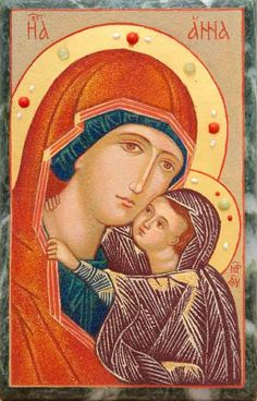 Handmade Icon of St Anna from finely ground semiprecious stones , handwork I Love You Mother, Mother Mary, Paint Icon, Metal Workshop, Crushed Stone, St Anne, Byzantine Icons, Home Icon, Art Thou