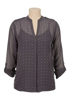 Stud Front V-neck chiffon blouse