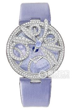 Cartier jewelry watch with periwinkle bracelet band and face. Cartier Jewelry, Jewelry Watches, Cartier Watches, Diamond Watches, Bling, Beautiful Watches, High Jewelry, Luxury Watches, Dior