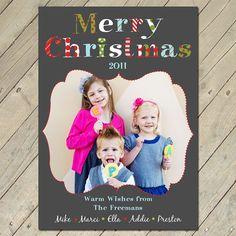 Custom Photo Christmas Card - Busy Letters