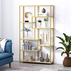 Tribesigns Bookshelf Bookcase, Gold Shelf Etagere Bookcase with Faux Marble, Modern Book Shelves Display Shelf Storage Organizer for Home Office Modern Bookshelf, Bookshelves, Gold Bookshelf, Display Shelves, Storage Shelves, Home Office Organization, Diy Organisation, Etagere Bookcase, Color Dorado