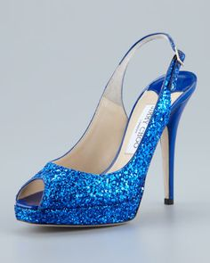 Clue Glitter Platform Slingback, Blue by Jimmy Choo at Neiman Marcus.