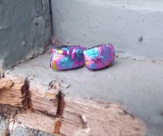 80's Inspired Earrings Dichroic Glass Stud by FancyThatFusion
