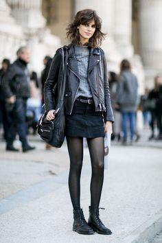 Suede mini and motorcycle jacket. Paris