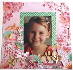 'Smile Love This' Layout by Amanda Baldwin DT for Kaisercraft using Cherry Blossom Collection - Wendy Schultz ~ Scrapbook Pages Cherry Tree, Cherry Blossom, Scrapbook Pages, Scrapbooking Layouts, Clear Stickers, Resin Flowers, Flourish, Bloom, Smile