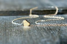 Gold Heart Necklace / Tiny Heart Pendant on a Gold by lefaire