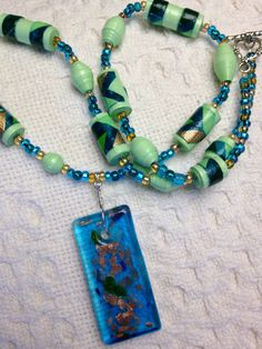 Paper Beads in Mint Green Gold Turquoise are by ActuallyPAPERBeads