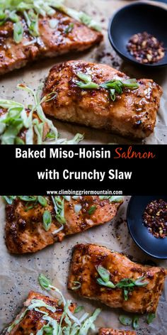 Baked Miso-Hoisin Salmon with Crunchy Slaw is a tasty and healthy meal! Miso and hoisin combined make for a wonderful sauce that's perfect over salmon! Bake the salmon for 12 minutes and top with a citrus slaw. This dish is two-thumbs way up!