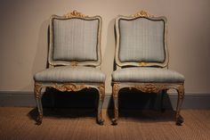 Rare Pair of C18th Spanish Carlos III Chairs in the original Polychromy
