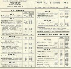 Prijslijst 1965