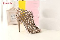 Sexy Peep Toe High-heeled Leather Sandals Wedding Events Shoes Bridal Dress Shoes Hallow Beaded Shoes Summer Sandals